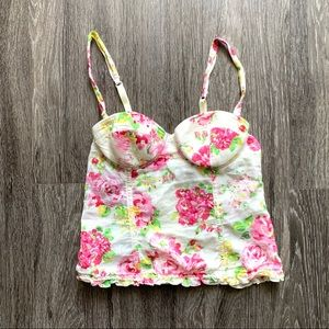 Forever 21 Floral Corset Bustier Size Small